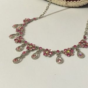 Gorgeous pink crystal statement necklace